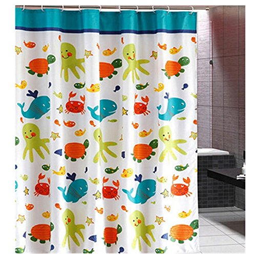 KAKA(TM) Thicken Waterproof Water-Repellent Antibacterial Bathroom Shower Curtain-cute Tortoise fish Polyester(70.9*70.9 inch)