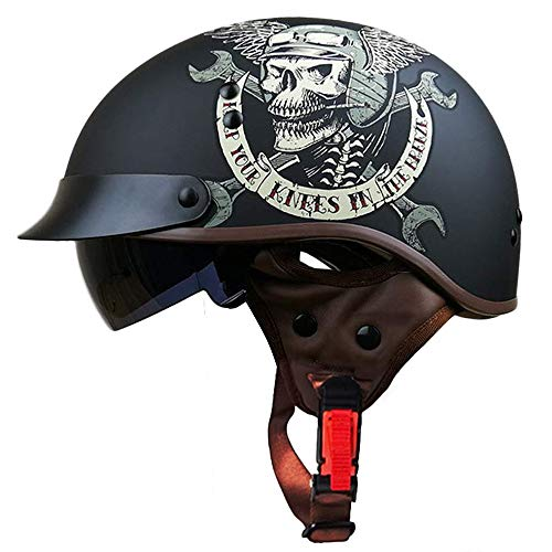 Half Motorcycle Helmet, Retro Harley Half Helmet Fashion Couple Cruiser Half Helmet, ABS Detachable Hat Top, Invisible Goggles, Skull Cap Style - DOT Certification]()