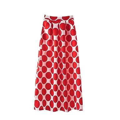 0885b47b59 Naughtyspring Women's White Contrast Polka Dot Print Maxi Skirt at Amazon  Women's Clothing store: