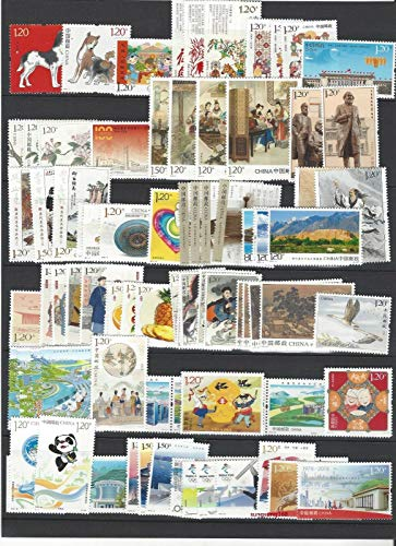 (CHINA PRC 2018 1-34 全年邮票集合, Whole Year of Dog Full Stamps, 5 S/S VF MNH, Fast free shipping)