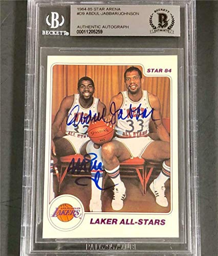 8ec35cac9b9 MAGIC JOHNSON   KAREEM ABDUL-JABBAR Signed 1984-85 STAR Lakers auto card  BAS BGS - Beckett Authentication