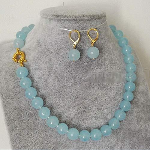 FidgetKute New 10mm Natural Light Blue Jade Round Beads Necklace Earring Set 18'' AAA