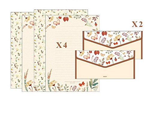 IMagicoo 32 Lovely Cute Writing Stationery Paper Letter Set with 16 Envelope + 1 Sheet Label Seal Sticker (Style-3(8.3x5.8))
