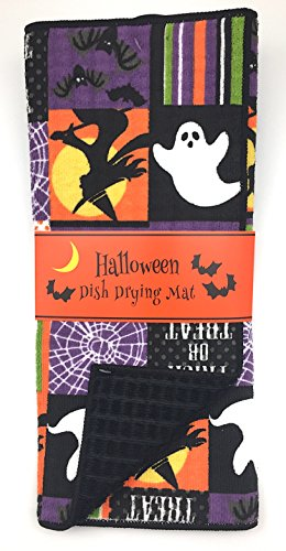 Decorative Holiday Halloween Reversible Dish Drying Mat for Kitchen Countertop, Colorful Patch Design, 15