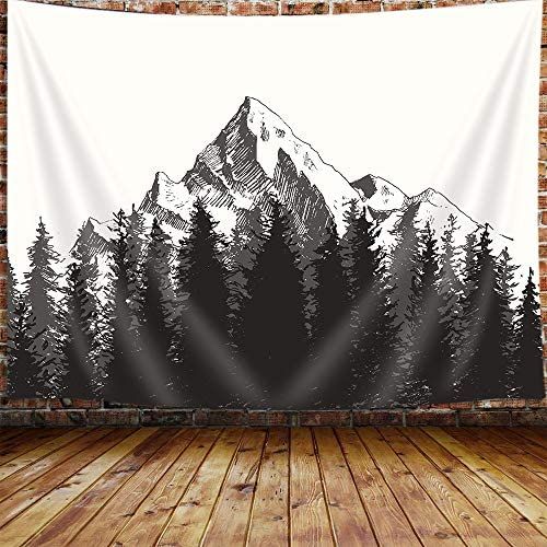 Black and White Mountain Large Tapestry for Men, Fall Fir Forest Tapestry Wall Hanging for Bedroom, Rustic Tapestry Beach Blanket College Dorm Home Decor 90 W X 70 H