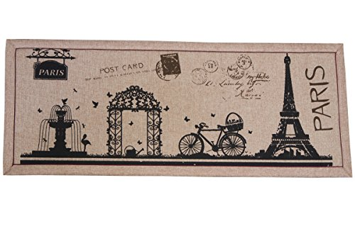 Front Entry Door Mat - Welcome Rug, Rustic Doormat, Paris Decorfor Home, Front Door, Office, Hallway - Eiffel Tower and Paris Style Design - Brown and Black, 16 x 40 Inches (Runners Bed Cushion And Sets)