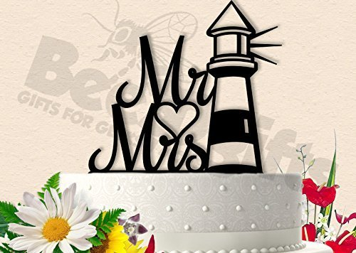 Mr and Mrs Lighthouse Wedding Cake Topper