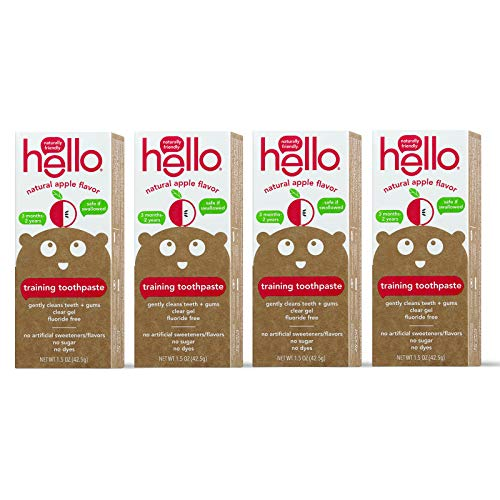 Hello Fluoride Free Training Toothpaste For Toddlers + Kids, 4 Count | Natural Apple Flavor, Safe To Swallow