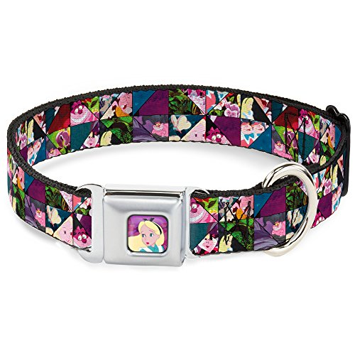 Dog Collar Seatbelt Buckle Alice in Wonderland Kaleidoscope Scenes 16 to 23 Inches 1.5 Inch Wide]()