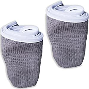 Fitness Gym Towels (2 Pack) for Workout, Sports and Exercise - Soft, Lightweight, Quick-Drying, Odor-Free - by desired body, Grey, Medium