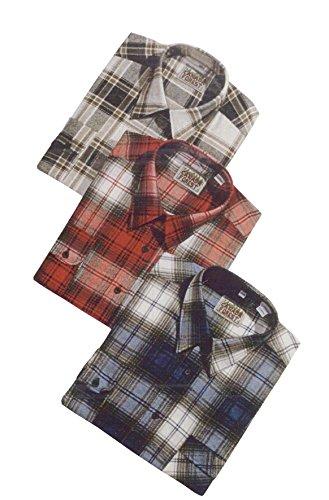 3 Arbeitshemden in Holzfällerkaro-Optik - 85 cm Rückenlänge, Farbe:Mix;Größe:41/42