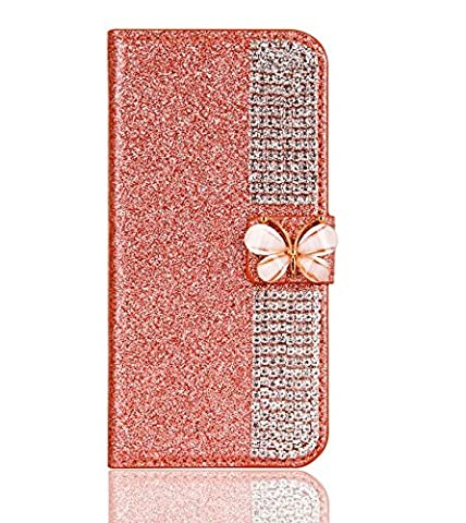 Superstart Rose Gold iPhone se 3D Handmade Beauty Butterfly Rhinestone Diamond Case for iPhone 5/5s Bling PU Leather Flip Stand Credit Card Wallet (Flip Cover Iphone 5 Bling)