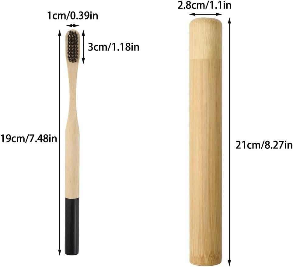 Nero Biodegradabile Ecologico Vegan Wilxaw 5 x Spazzolino da Denti di bamb/ù Spazzolino da Denti Naturali con Custodia da Viaggio Portatile in bamb/ù