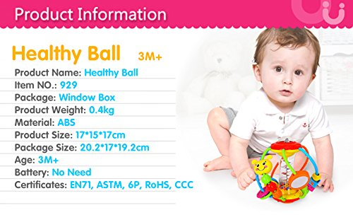 Coolecool Healthy Ball Baby Toys 3 6 Months Baby Rattle Educational Learning Activity Sensory Toys for Infants Babies (Multicolored) by Coolecool (Image #1)