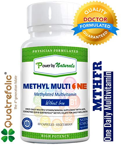PbyN - Methyl Multi One Without Iron and Copper - Once Daily MTHFR Methylation Protect Methylated Multivitamin with ADK, CoQ10, Active Vitamin B12, Quatrefolic Methyl Folate (Men and Women) 60 V-Caps