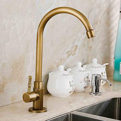 (Beetle LLC - Antique brass kitchen faucet kitchen sink tap basin faucet cold-water tap 360 Swivel Spout basin)
