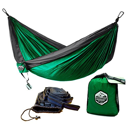 Greenlight Outdoor Camping Hammock with Hammock Tree Straps - lightweight Parachute Portable Backpacking Hammock - 2 Person Double Travel Hammock, 118'' x 78''. by Greenlight Outdoor
