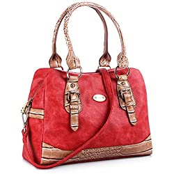 Handbags for women, FYY 100% Handmade Premium PU Leather women satchel handbags Top-Handle Purse Red