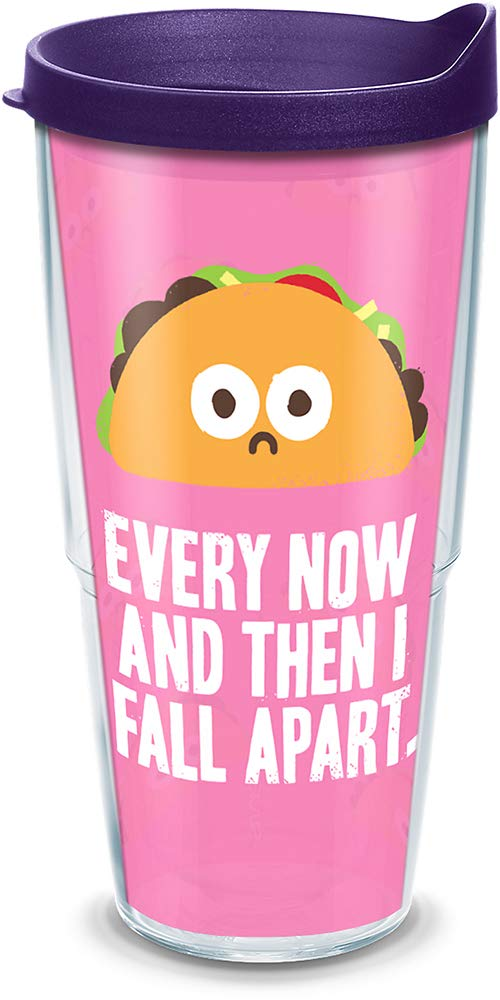Tervis 1312417 David Olenick Taco Fall Apart Insulated Tumbler with Wrap and Royal Purple Lid 16oz Mug Clear