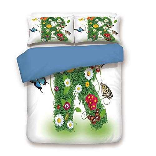 (Duvet Cover Set King Size, Decorative 3 Piece Bedding Set with 2 Pillow Shams,Uppercase R with Flora and Fauna Wildflowers Daisies Butterflies and Grass Decorative)