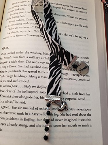 Black and white zebra prink ribbon bookmark with beads and charms