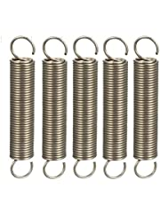 """uxcell® Extended Compressed Spring Wire Diameter 0.039"""", OD 0.39"""", Free Length 2.36"""" Stainless Steel Small Dual Hook Tension Spring 5pcs"""