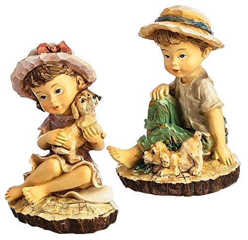 (ShopForAllYou Figurines and Statues Miniature Fairy Garden Seated Children w/Puppies - Set of 2)