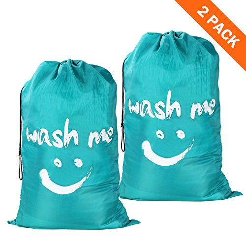 Wimaha 2 Pack Drawstring Laundry Bag Extra Large Durable Handy Travel Fabric Polyester Storage Bag for Blouse, Hosiery, Underwear, Delicates, Garment, Shirts, Stocking Socks, - Camping You Trip What Need For