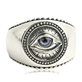 Beydodo Mens Silver Ring, The Eye Of God Ring Blue Eye Ring Size 9 Silver Ring for Men Hip Hop