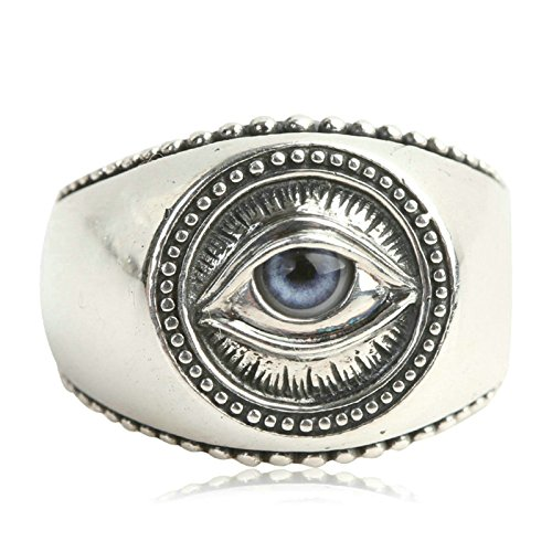 Beydodo Mens Vintage Rings in Sterling Silver 925 Polished Signet Ring Eye of Providence Size 7 Mens Ring Band