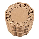 Paper Doilies – Bulk 1000-Pack Round Lace Placemats for Cakes, Desserts, Baked Treat Display, Ideal for Weddings, Formal Event Decoration, Tableware Décor, Brown - 5 Inches in Diameter