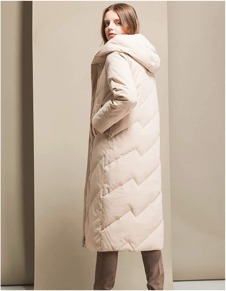 Manteau en Duvet Ultra léger à Capuchon pour Femme - Manteau en Duvet de Canard Blanc épais mi-Long, Cadeau pour la Famille Beige