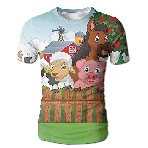 JeanCo Mens Cartoon Collection Of Cute Farm Animals On The Fence Comic Mascots With Dog Cow Horse Casual Style T-shirt White - Airport Mascot