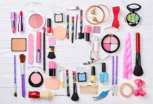 Leyiyi 5x3ft Make Up Products on Table Backdrop Cosmetic Fashion Ladies Lipstick Beauty Shop Bracelet Hair Decor Photography Background SPA Henna Party Bridal Shower Vlogger Photo Studio Vinyl Prop ()