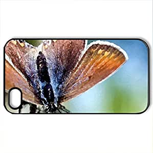 Beautiful Butterfly - Case Cover for iPhone 4 and 4s (Butterflies Series, Watercolor style, Black)