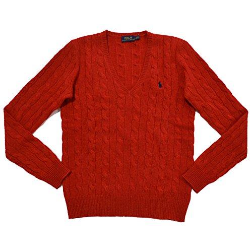 Polo Ralph Lauren Womens V-Neck Merino Wool Blend Sweater (Large, Camden Red) ()