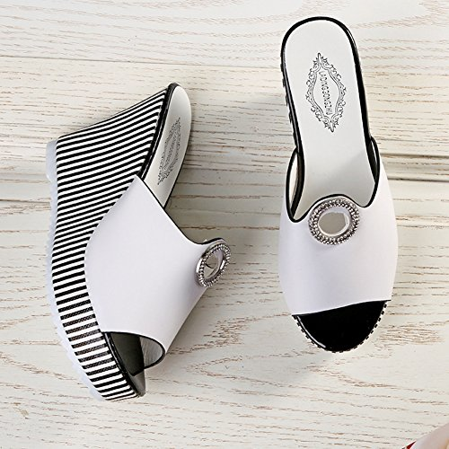 Slide JULY High White Heel T Wedge Womens Sandals Out Hollow Fish Fashion Summer Mouth Ladies Slippers wIZPw1xa