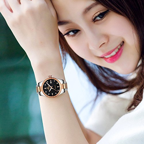 CARNIVAL Couple Watches Men and Women Automatic Mechanical Watch Fashion Chic for Her or His Set of 2 (Rose Gold Black) by Carnival (Image #7)