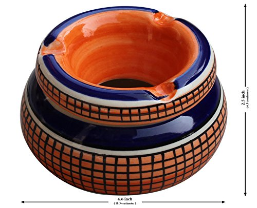 Todays-sale-AB-Handicrafts-Moroccan-Round-Ashtray-4-Hand-Painted-Ceramic-Ash-Tray-with-3-Cigarette-Holder-SlotsPrime-Day-Sale
