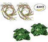Flexible Jungle Vines Plastic Terrarium Plant Leaves Pet Habitat Decor for Lizard,Frogs, Snakes and More Reptiles(Pack of 4)