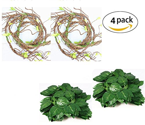 Flexible Jungle Vines Plastic Terrarium Plant Leaves Pet Habitat Decor for Lizard,Frogs, Snakes and More Reptiles(Pack of 4) by Hamiledyi