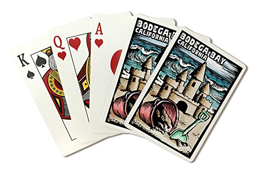 Bodega Bay, California - Sandcastle - Scratchboard (Playing Card Deck - 52 Card Poker Size with Jokers)