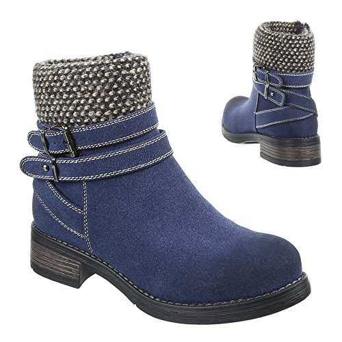 Ital-Design - Botas de Material Sintético para mujer Azul - azul