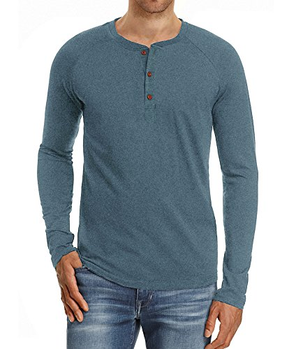 NITAGUT Men's Casual Slim Fit Long Sleeve Henley T-Shirts Cotton Shirts (2XL, Vg-Blue)