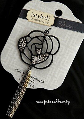 Metal Beads Focal Glass Art (Rose Focal Pendant Gunmetal Chains Rhinestones Focal Centerpiece Tori Spelling)