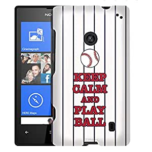 Nokia Lumia 520 Case, Slim Fit Snap On Cover by Trek KEEP CALM and Play Ball Case