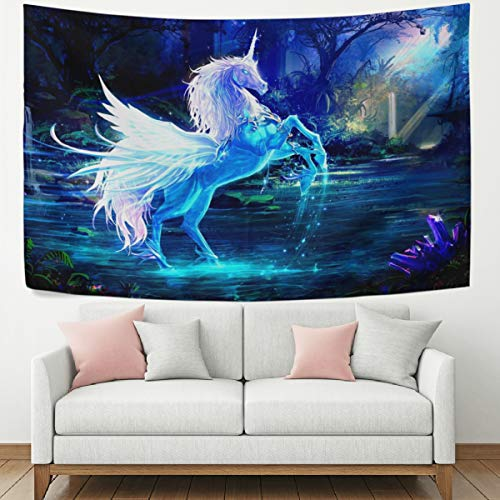 WOOR Tapestry Wall Hanging Magic Unicorn Blue Art Wall Tapestry for Living Room Bedroom Dorm Home Decor 80x60 Inches ()