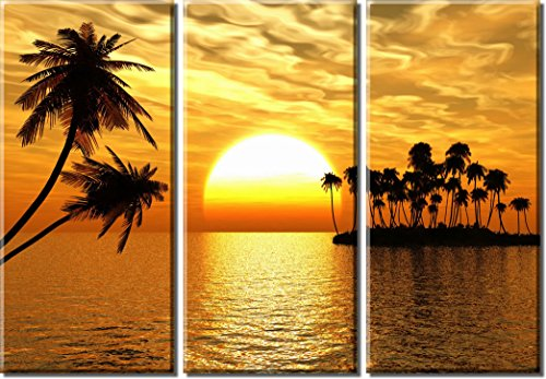 Picture-Sensations-Framed-Huge-3-Panel-Palm-Tree-Ocean-Tropical-Sunset-Giclee-Canvas-Print