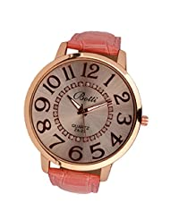 changeshopping Womens Fashion Numerals Golden Dial Analog Quartz Watch (pink)