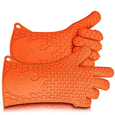 Ekogrips BBQ Grilling Gloves, Most Versatile Oven Mitts & Hot Pads. Lifetime Replacement! Loved By Andrew Zimmern & Martha Stewart, Insulated, Waterproof. Total Finger, Hand, Wrist Protection. 3 Sizes